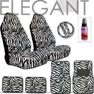 Zebra High Back Car Seat Cover Floor Mats and Steering Wheel Cover