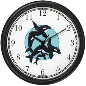 Killer Whale / Orca Family Wall Clock by WatchBuddy Timepieces (Black