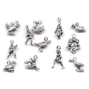 Sterling Silver 12 Days of Christmas Charm Bracelet Holiday Jewelry