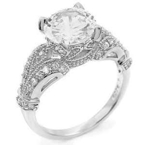 Eye Catching Sterling Silver Engagement Ring, Adorned with