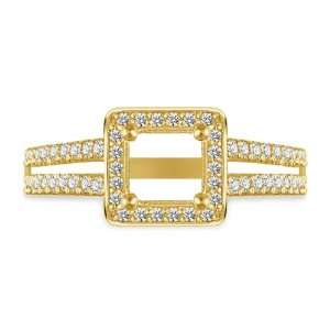 Dual Band Halo Micropave Princess Cut Diamond Engagement Ring in 18K