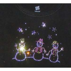 Hanes Ladies Size Large Black T Shirt w/3 Snowmen & Crystal Snowflakes