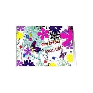 Happy Birthday Special Girl Butterflies and Flowers Card
