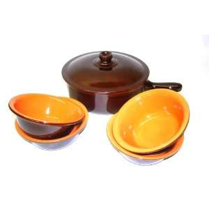 Piral, Italian Terracotta Saucepan Bowl Set Chocolate Rich Umber