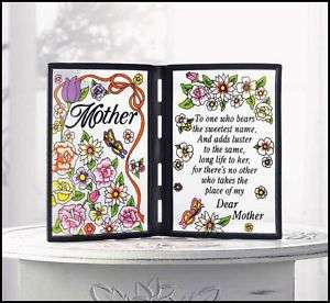 MOTHER OR MOM POETIC BOOK STYLE PLAQUE**NIB