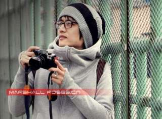 Fashion Wool Hoodie With Glovers Jacket Dark Grey 0221