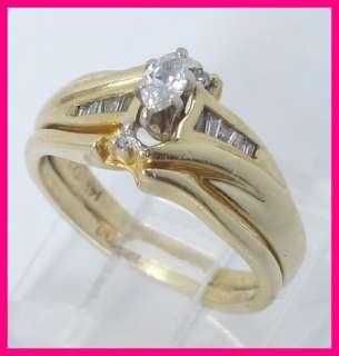14k Yellow Gold Marquise, Round & Baguette Diamond Wedding Ring Set