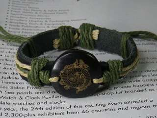 Double fish carve Leather green hemp Bracelet Wristband