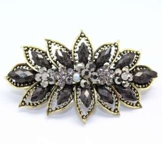 New arrival gray gemstone beads big hair barrette button clip #NL0791F