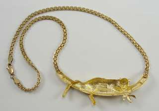 14K Yellow Gold Necklace Leopard on Tree Limb 17 Chain