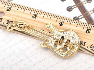 Gold Silver Tone Crystal Rhinestone Mandolin Acoustic Guitar Music Pin