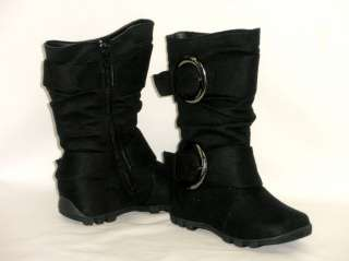 Girls Tall 2 Buckle Boots *Comfy Casual Kids Shoes Youth/Toddler Size
