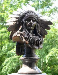 Original Native American Art Indian Chief Bronze Bust Sculpture Statue