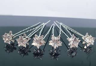 6PCS WEDDING BRIDAL CRYSTAL STAR HAIR PINS CLIP