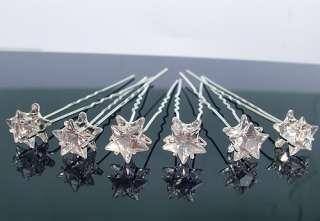6PCS WEDDING BRIDAL CRYSTAL STAR HAIR PINS CLIP