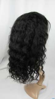 new full lace wig 100% indian remy human hair 12inch 1b# deep wave