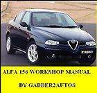 ALFA ROMEO 156 1998 2003 WORKSHOP SERVICE MANUAL ON CD