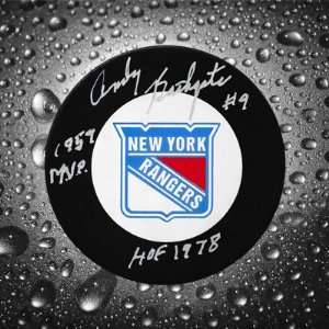 Andy Bathgate New York Rangers Auographed Puck Sports