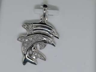 LADIES WHITE GOLD FINISH DIAMOND DOLPHIN CHARM PENDANT