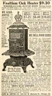1902 JOHN M. SMYTH CO. AD FOR FAULTLESS ROUND OAK STOVE