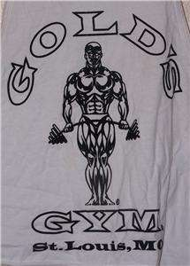 Vtg Golds Gym St. Louis, MO White Workout Muscle Shirt Tank Top Mens