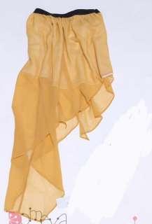 Elastic Waist Asym Hem Ruffle BOHO Chiffon Skirt