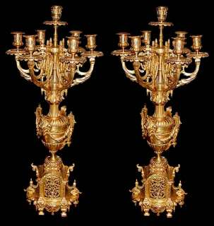 Pc. 19th C. French Victorian Gilt Bronze Clock & Candelabra Set