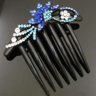 SHIPPING 1 pc rhinestone crystal flower French twist hair comb