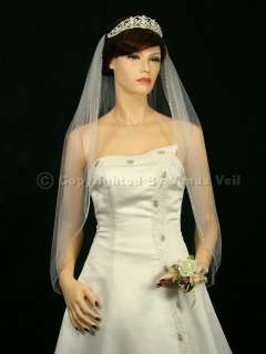 1T Ivory Wedding Bridal Fingertip Beaded Veil
