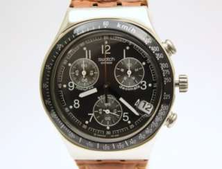 Swatch Men Irony Chrono Dark Phoenix Brown Leather Band Watch Date