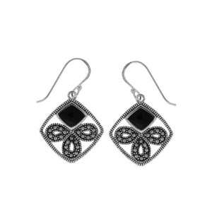 Boma Sterling Silver Onyx Marcasite Bow Earrings Jewelry