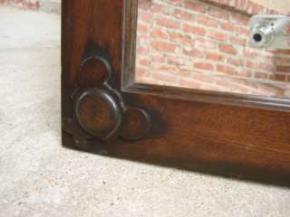 Antique English Carved Dark Oak Beveled Square Wall Mirror or Table