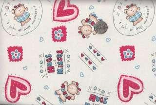 XOXOX Hugs & Kisses Valentine Motif Fabric