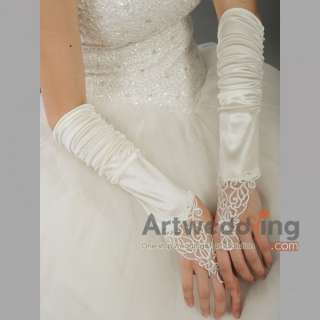 Fingerless Satin Elbow Wedding Gloves with Sequined Applique (ST110075