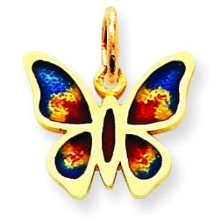 14k Yellow Gold Enameled Butterfly Charm. Gold Weight  0.68g. Free