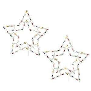 18 Star Window Decor 50 Multi Color Lights 2 Pack