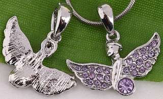 20 ST Mixed Angel Wing Crystal Charm Bead Pendant AA633
