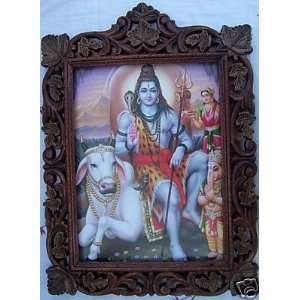 Lord Shiva, Ganesh & Cow, Pic in Wood Frame: Everything