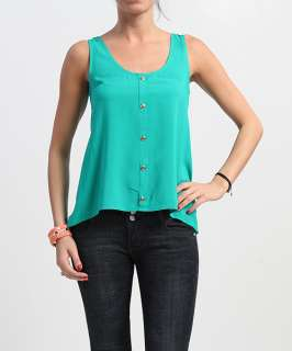 MOGAN Luxe Button Front Crepe SLEEVELESS BLOUSE Chic High Low