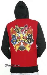 Mighty Morphin Power Rangers RED Hoodie Hoody Hooded Sweatshirt Adult