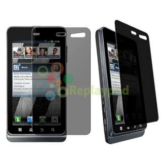 Black Hard Case+Privacy LCD Film+Car Charger+Cable For Motorola Droid