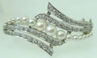 Antique Ladies 14K White Gold & Diamond Pearl Bangle