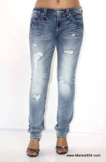 Hot Style Skinny MISS ME Jeans w Crystals white Wings Destroyed