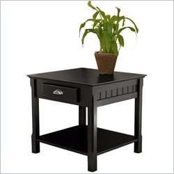 Timber Solid Wood /Nightstand Black End Table 021713201249