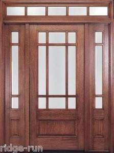 Fiberglass exterior door 2 sidelight entry oak pella for 9 lite wood exterior door