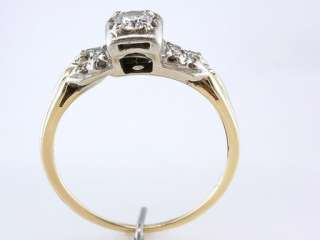 Antique Deco Genuine Diamond .45ct 14K Yellow Gold Engagement Wedding