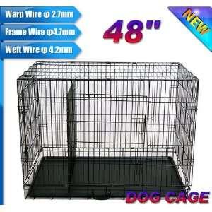 Frugah New 48 Folding Pet Dog Cage Crate 2 Door Portable
