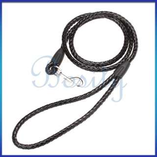 46 inch Braided PU Leather Pet Dog Puppy Leash Lead Rope S