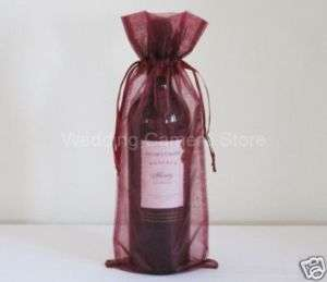 12 burgundy Organza Bags  Bottle/Wine bags gift, 6x14