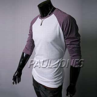 Mens Baseball T Shirt Raglan Jersey Basic Tee Crew neck shirt Tops IN